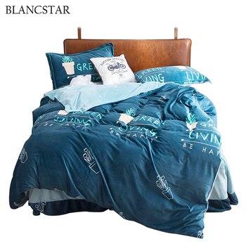Blancstar Bedding Sets Blue Crystal Velvet Winter Four-piece Bed Linen Stitch Bedding Set Comforter Bedding Sets Comfort Q016