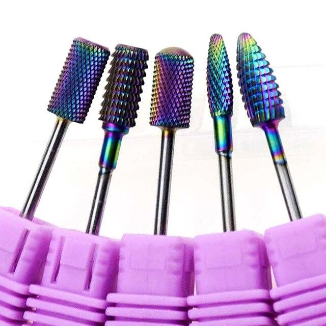 Blue Tungsten Round Flame Nail Drill Bit Carbide Milling Cutter Manicure Ceramic Drill Bits Electric Machine Nail Accessories 1