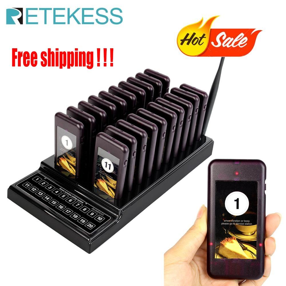 RETEKESS T111 Restaurant téléavertisseurs 20 appel appel sans fil système de mise en file d'attente serveur appel client bouton équipement de restaurant