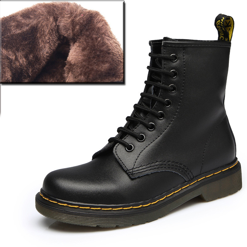Fashion Women Men Genuine Leather Boots Winter Women Ankle Boots Waterproof Casual Lace Up Unisex Fashion Shoes Black Botas Muje image