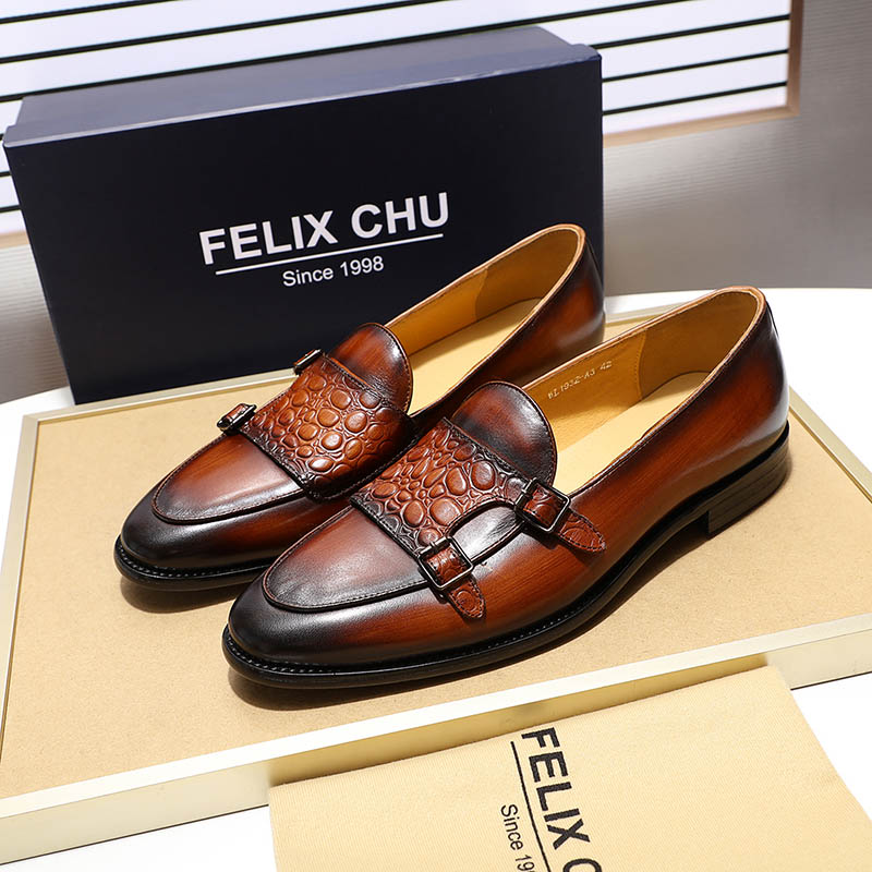 Image 4 - FELIX CHU Luxurious Mens Double Monk Strap Loafers Genuine  Leather Brown Green Mens Casual Dress Shoes Slip On Wedding Men  ShoeMens Casual Shoes