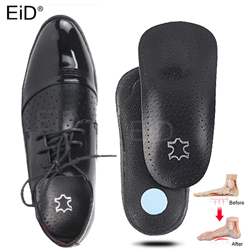 EiD 3/4 Length Leather Orthotic Insole For Flat Feet Arch Support Orthopedic Shoes Sole Insoles For Feet Men And Women Foot Care