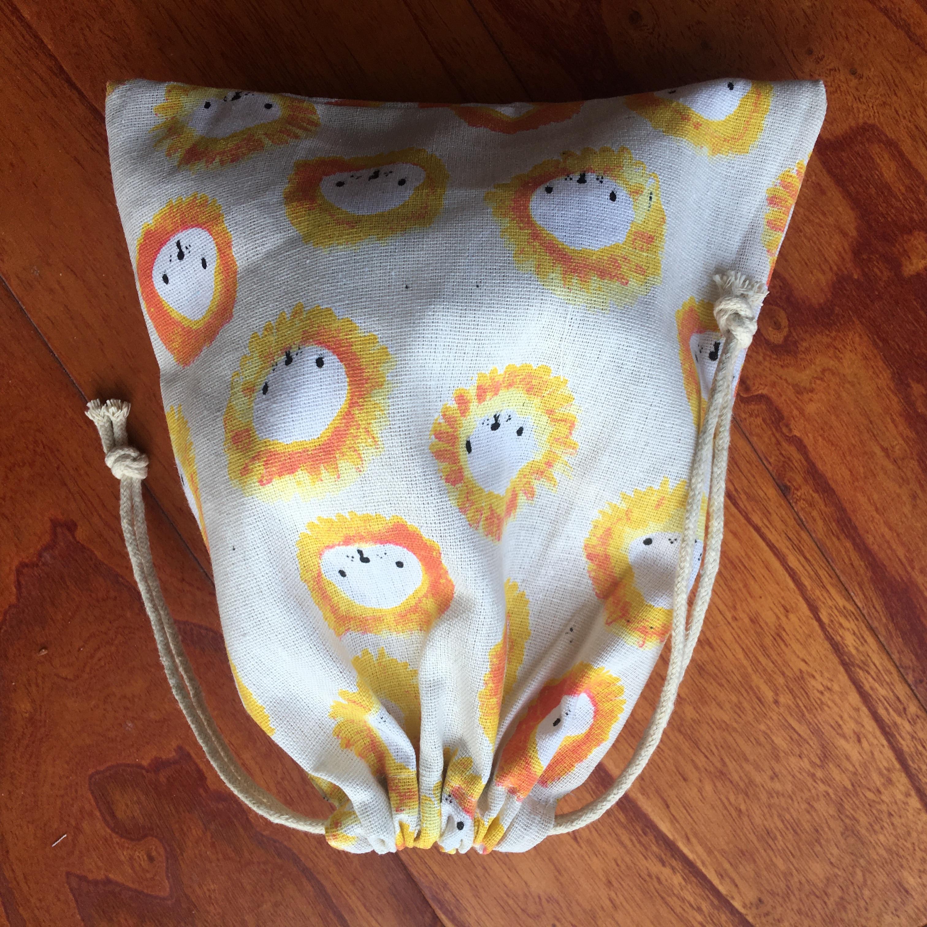 Cotton Linen Drawstring Pouch Multi-purpose Bag Party Gift Bag Print Lion Head YILE91105b