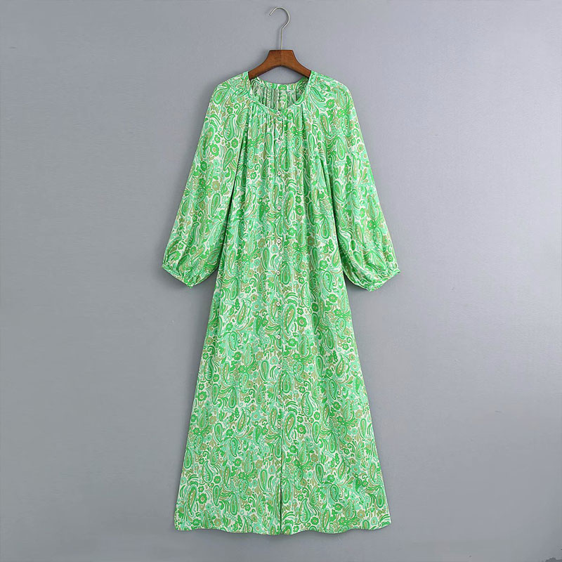 2020 Summer Women Vintage Shirts Dress Floral Print Long Sleeve O-Neck New Fashion Dresses Female Elegant Vacation style Dress
