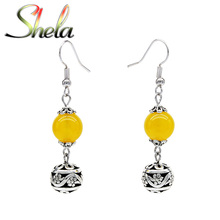 SHELA Yellow Onyx Trendy Drop Earrings for Women Tibetan Silver Beads Dangle Pendant Fashion statement Jewelry
