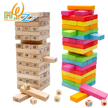 NEW 54pcs wood rainbow high stacks Domino toy Board game Jenga wooden toys Domino blocks have 2 types logs/color kids block toys logs