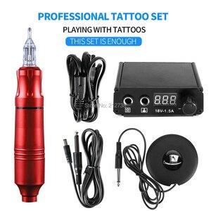 Image 5 - Professionelle Tattoo Rotary Stift Tattoo Kit Maschine Mini Power Set Tattoo Studio Supplies C0