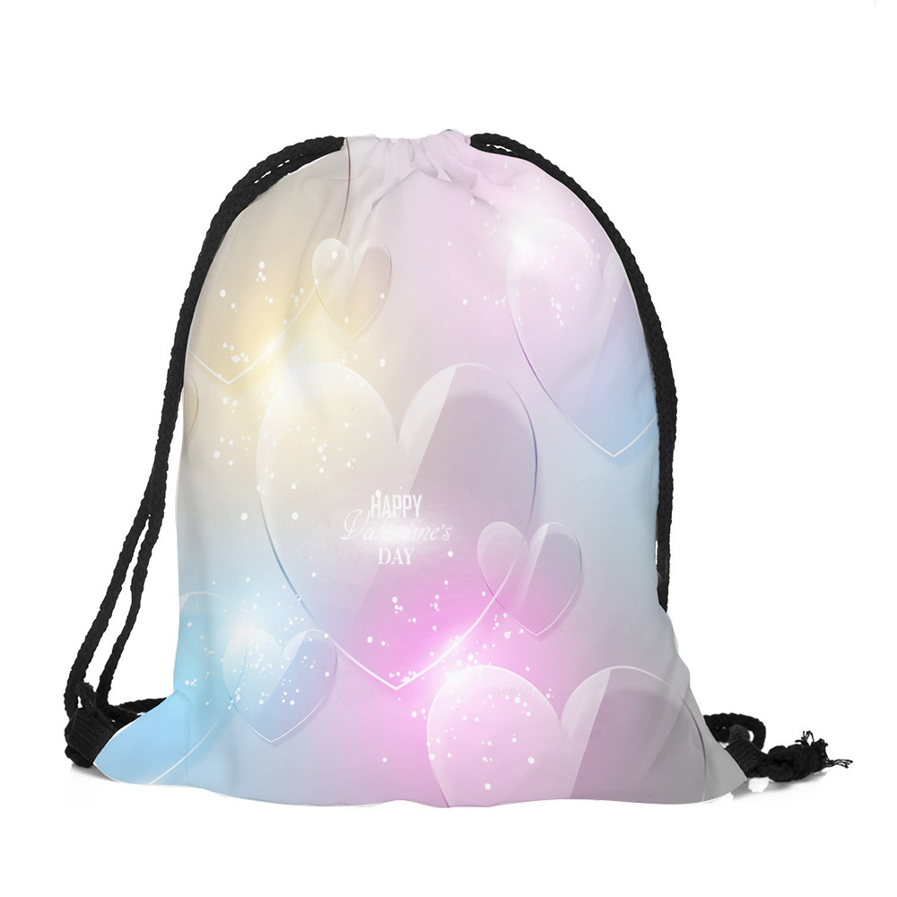 Couple Drawstring Bags Valentine's Day Drawstring Bag Sack Sport Gym Travel Outdoor Backpack Bags Storage Package