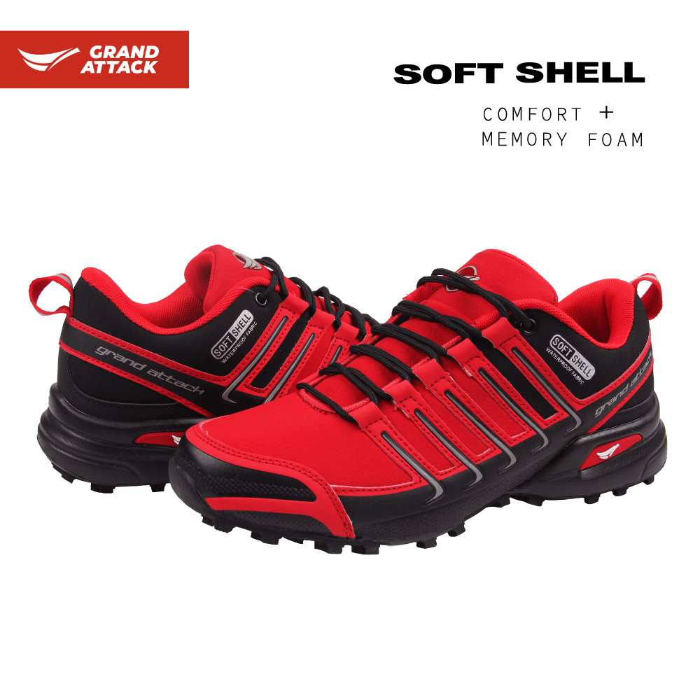 Grand Attack Soft Shell Lace Up Outdoor Shoes Walking Hiking Trekking Backpacking Waterproof Lightweight Shoes Trainers