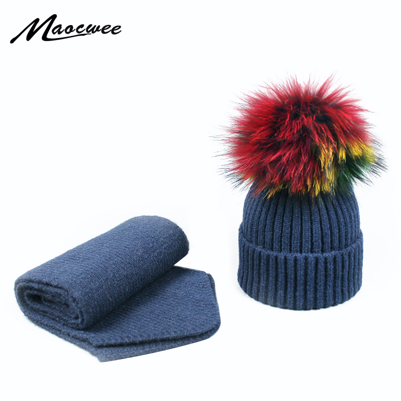 Two-piece Scarf Hat Set Children Women Hat PomPon Knitted Skullies Beanies Cap Autumn Winter Warm Unisex Solid Color Raccoon