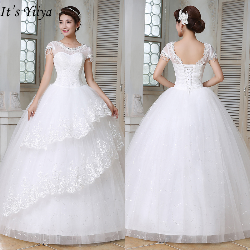 It's Yiiya White Wedding Dresses 2019 Fashion O-neck Short Sleeves Floor Length Dresses Elegant Princess Vestidos De Novia HS149