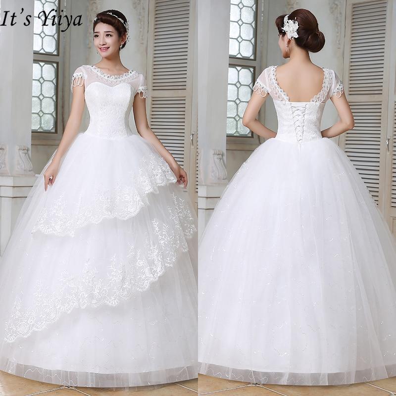 It's Yiiya White Wedding Dresses 2019 Fashion O-neck Short Sleeves Floor Length Dresses Elegant Princess Vestidos De Novia HS149