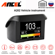 ANCEL ordenador Digital A202 OBD 2 para coche, medidor de temperatura de consumo de combustible, escáner OBD2
