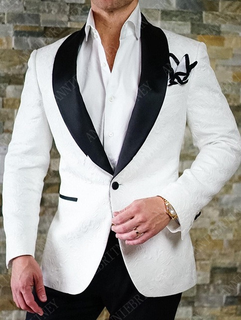 ANNIEBRITNEY New White Jacquard Men's Suits Set Slim Fit Groom Tuxedo For Wedding Dinner Tailored Plus Size Blazer Black Pants