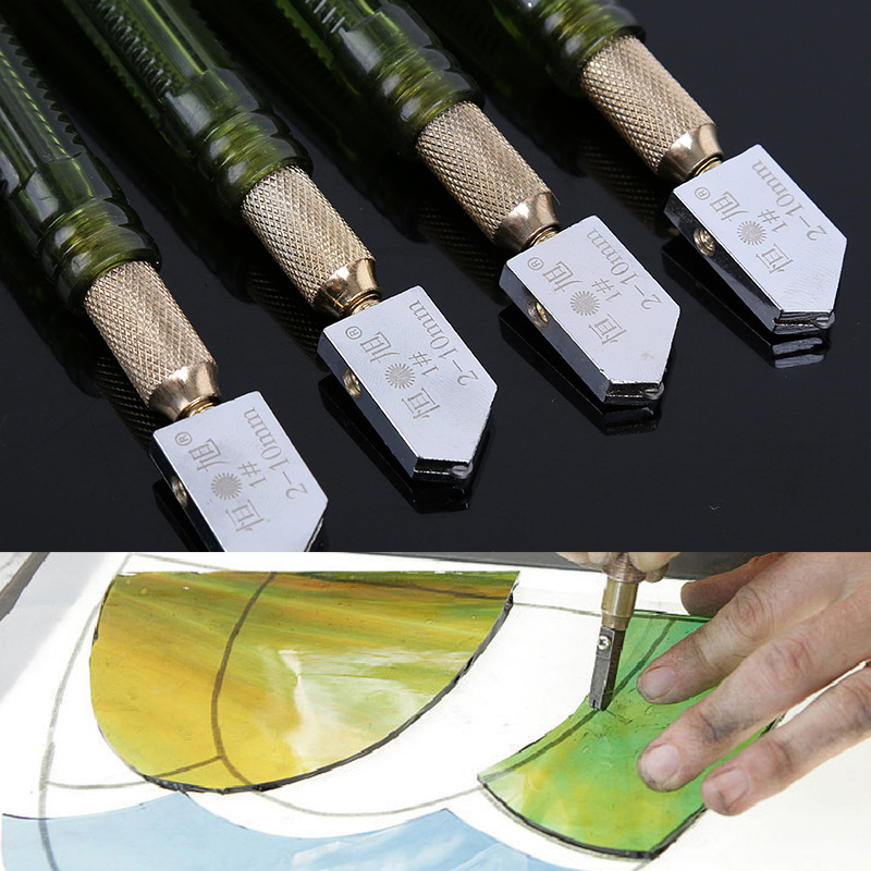 1Pc 2-10mm Glass Cutter Roller Diamond Tip Antislip Carbide Metal Plastic Handle Oil Feed Cutting Tool Ceramic Tile DIY Cutter