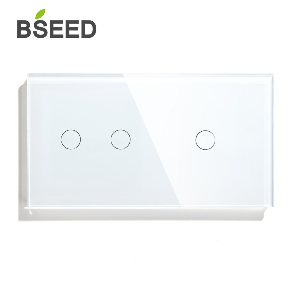 Bseed 3 Gang 1 Way 2 Way Wall Power Sensor Switch 157mm Light Switch White Black Golden Crystal Class Panel Switch