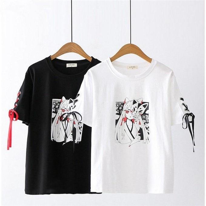 Neploe Summer Tops Korean Harajuku T Shirt Short Sleeve Women Casual Shirts Japanese Print Streetwear Gothic White Black Tees