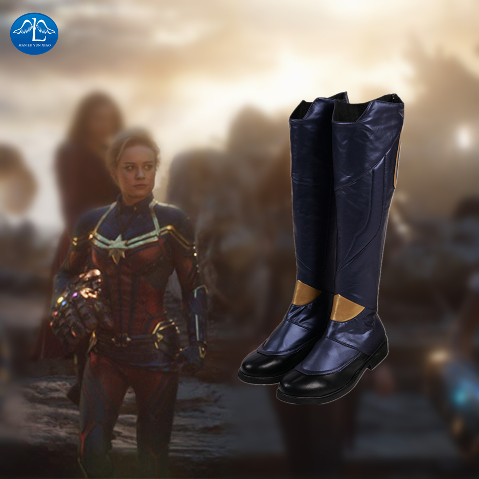 Captain Marvel Shazam Shoes Billy Batson Long Leather Boots Men Props Halloween
