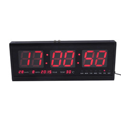 HT4819SM-1  zegar ścienny ze stopu aluminium cyfrowy kalendarz LED zegar ścienny zegary ścienne temperatury ue wtyczka 110-240V Modern Design Home