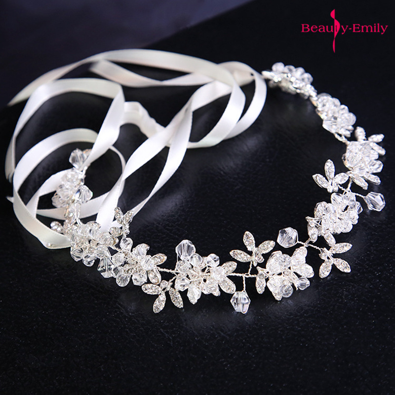 Hot White Handmade Crystal Headdress Bridesmaid Wedding Wreath Bridal Headband Rhinestone Floral Princess Wedding Accessories