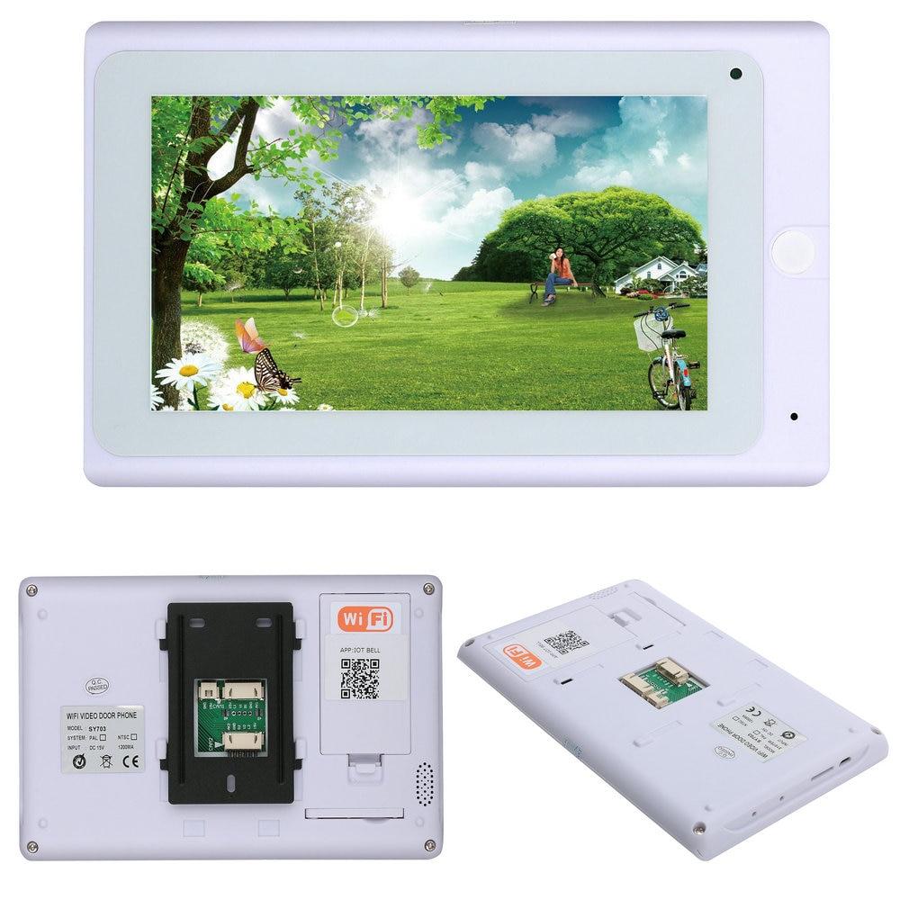 2 монитора 7 дюймов беспроводной Wifi RFID видео телефон двери дверной звонок Домофон Система с проводным IR CUT 1080P Проводная камера - 5