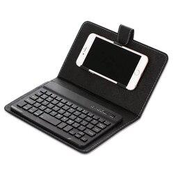 Przenośna klawiatura ze skóry PU pokrowiec na telefon bezprzewodowa klawiatura Bluetooth dla iPhone Android PR sprzedaż