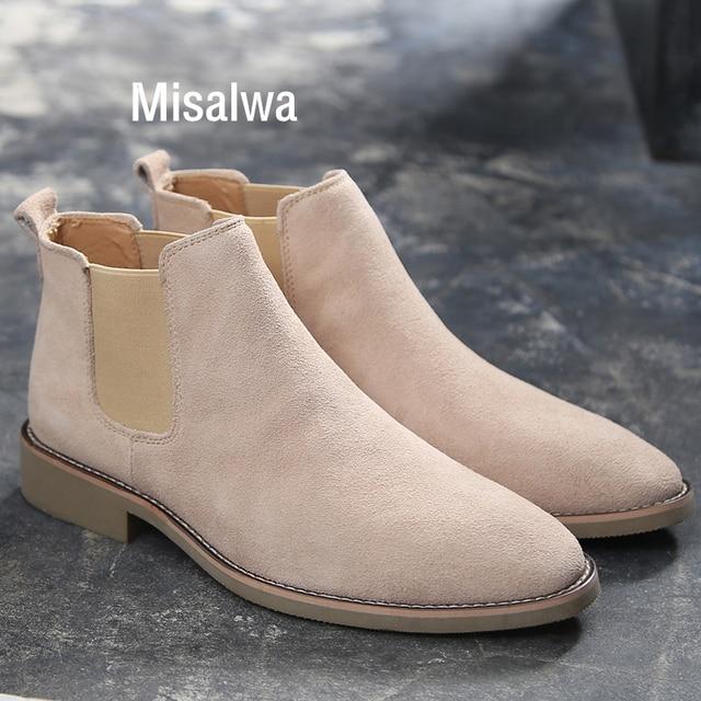 Misalwa צ לסי מגפי גברים זמש עור הגון גברים קרסול מגפי מקורי זכר קצר נעליים יומיומיות בריטי סגנון חורף אביב אתחול