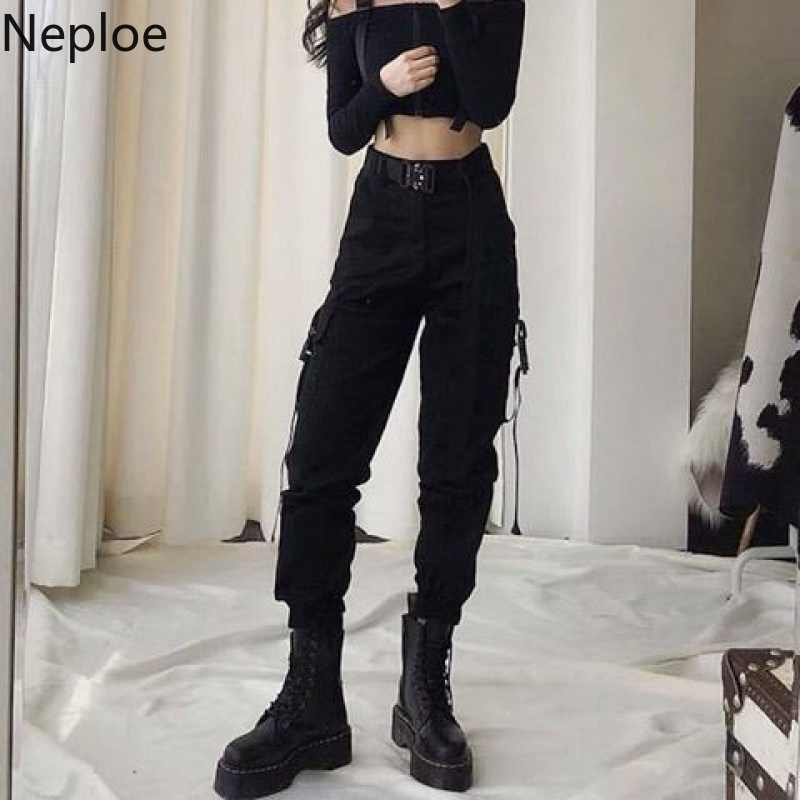 Neploe Pantalones Cargo Negros Informales Para Mujer Pantalon De Baile De Cintura Alta Bombachos Coreanos Hasta El Tobillo Con Cinturon 54593 Pantalones Y Pantalones Capri Aliexpress