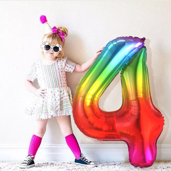 40inch New Rainbow Number Foil Balloons Happy Birthday Wedding Party Decoration Adult Colorful Unicorn Balloons Kids Gift foil number balloons birthday party decorations holiday diy decoration kids baby shower wedding decoration balls 40inch