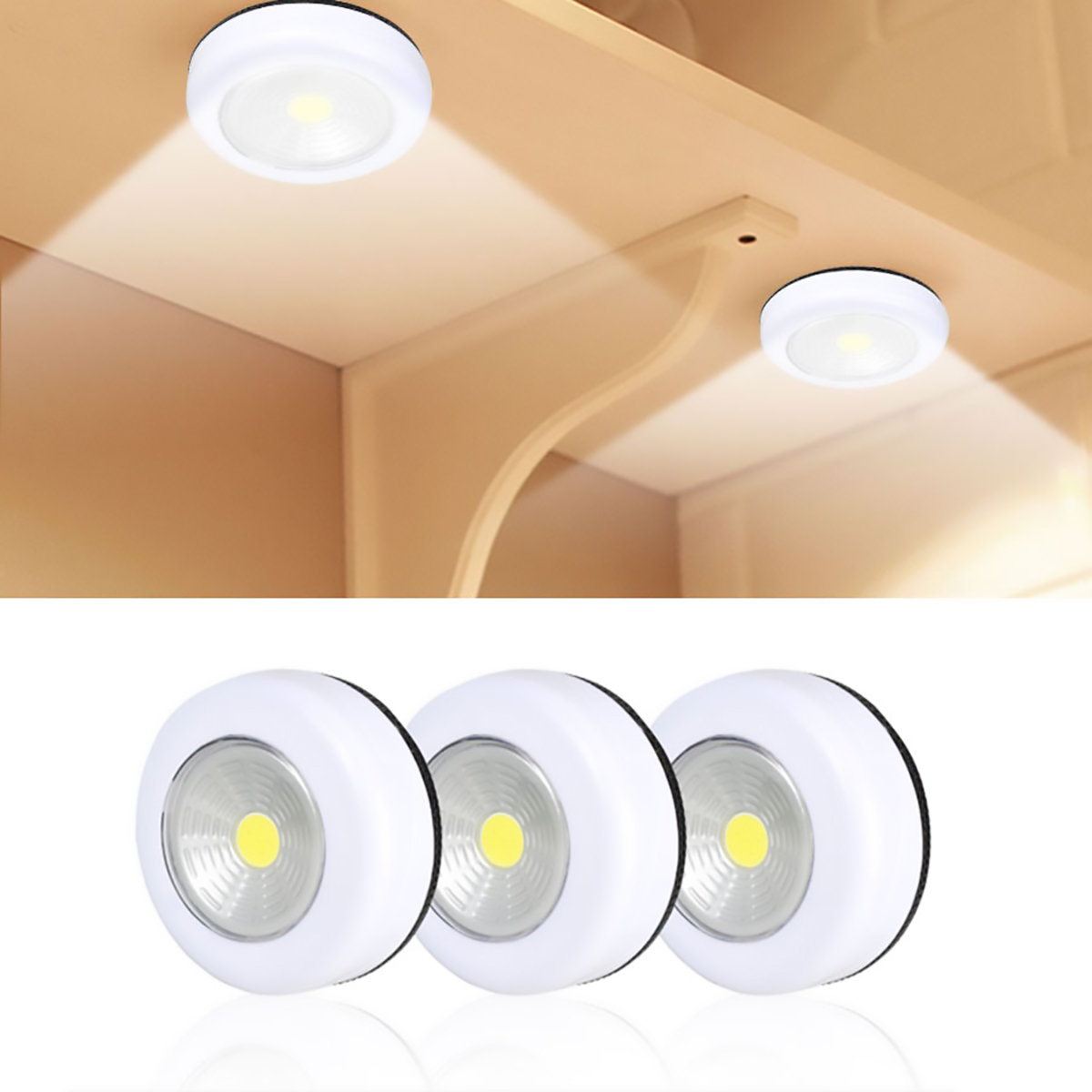 COB LED Under Cabinet Light Wireless Wall Lamp Wardrobe Cupboard Drawer Closet Battery Operate Bedroom Bathroom Night Light