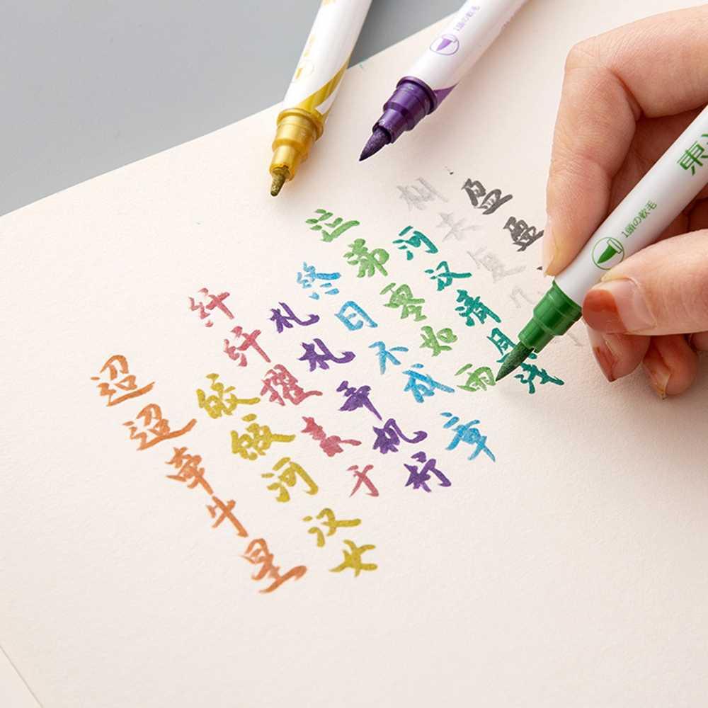 10 couleurs double conseils marqueur métallique perle couleur Art marqueurs Art pinceau métallique double pinceau marqueur stylo dessin stylo peinture