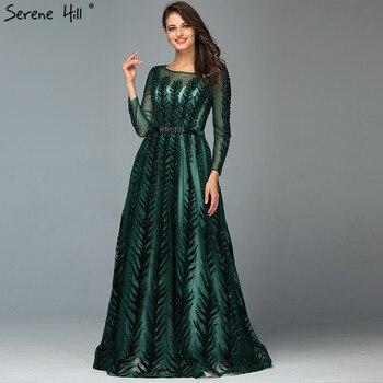Dubai Design Green Long Sleeves Evening Dresses 2020 O-Neck Beading Sequined A-Line Formal Dress Serene Hill LA70040