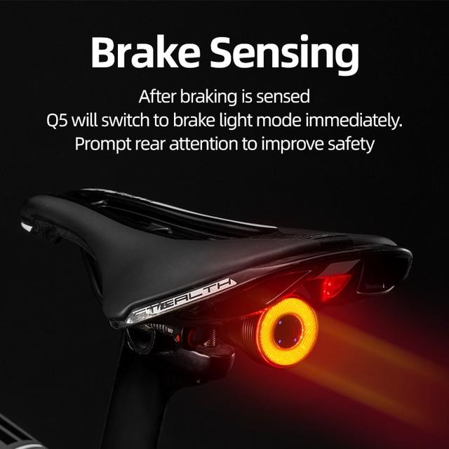 Rockbros bicicleta inteligente luz de detecção freio automático ipx6 à prova dwaterproof água led carregamento ciclismo luz traseira da bicicleta acessórios q5 2
