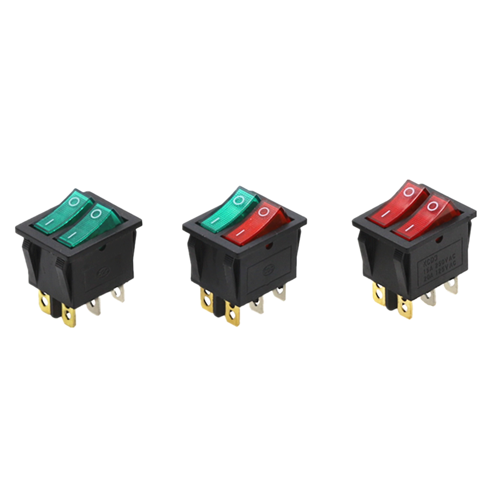 Double Rocker Switch 6 Pin On-Off dengan Hijau Lampu Merah 20A 125VAC
