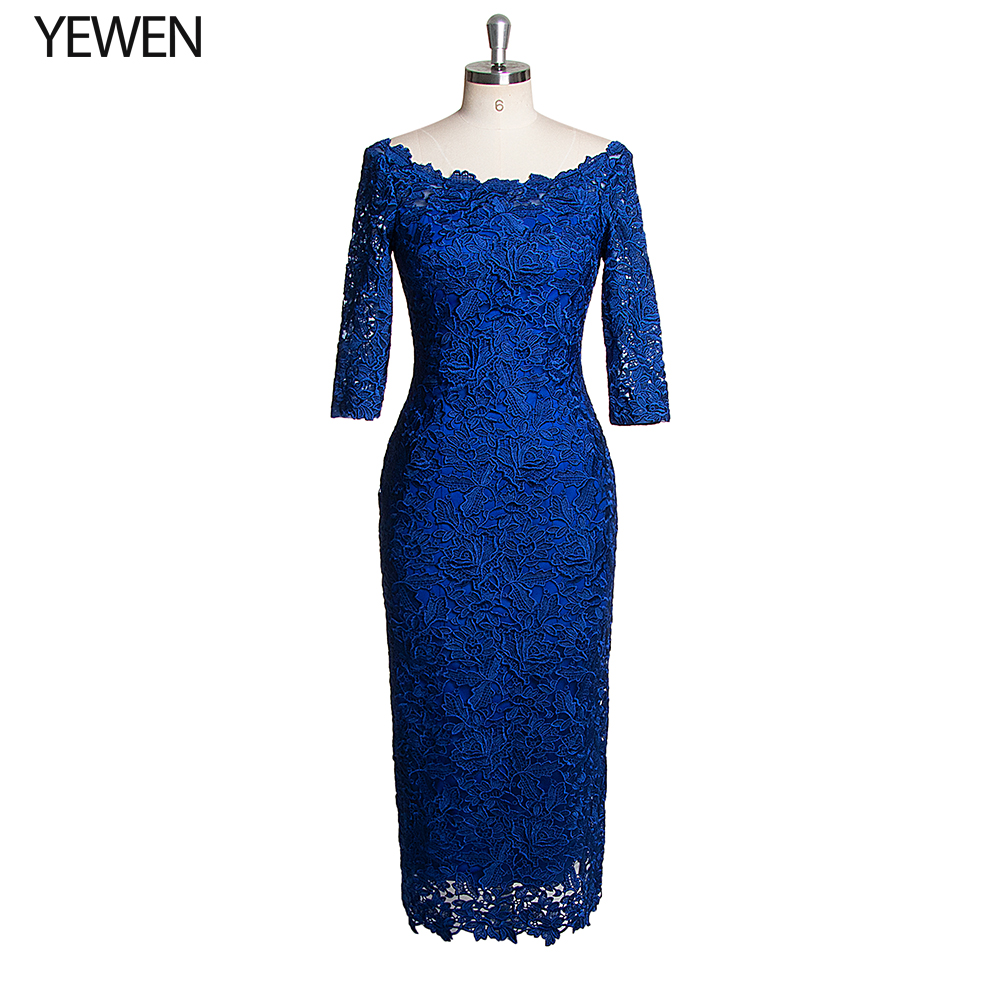 Royal Blue Boat Neck Formal Dresses 2019 Half Sleeves Knee Length Lace Evening Coctail Party Gown Bridal Dress YeWen
