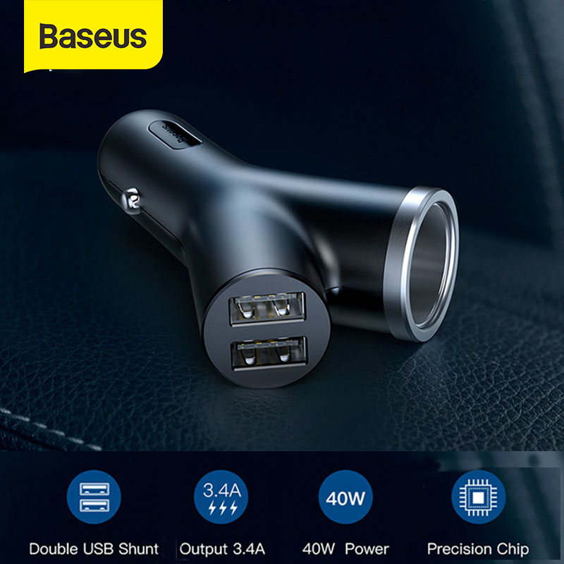 Baseus Car Charger 40W Double USB Shunt For IPhone X Xiaomi Car Cigarette Lighter Slot Fast Quick Charging Car-Charger