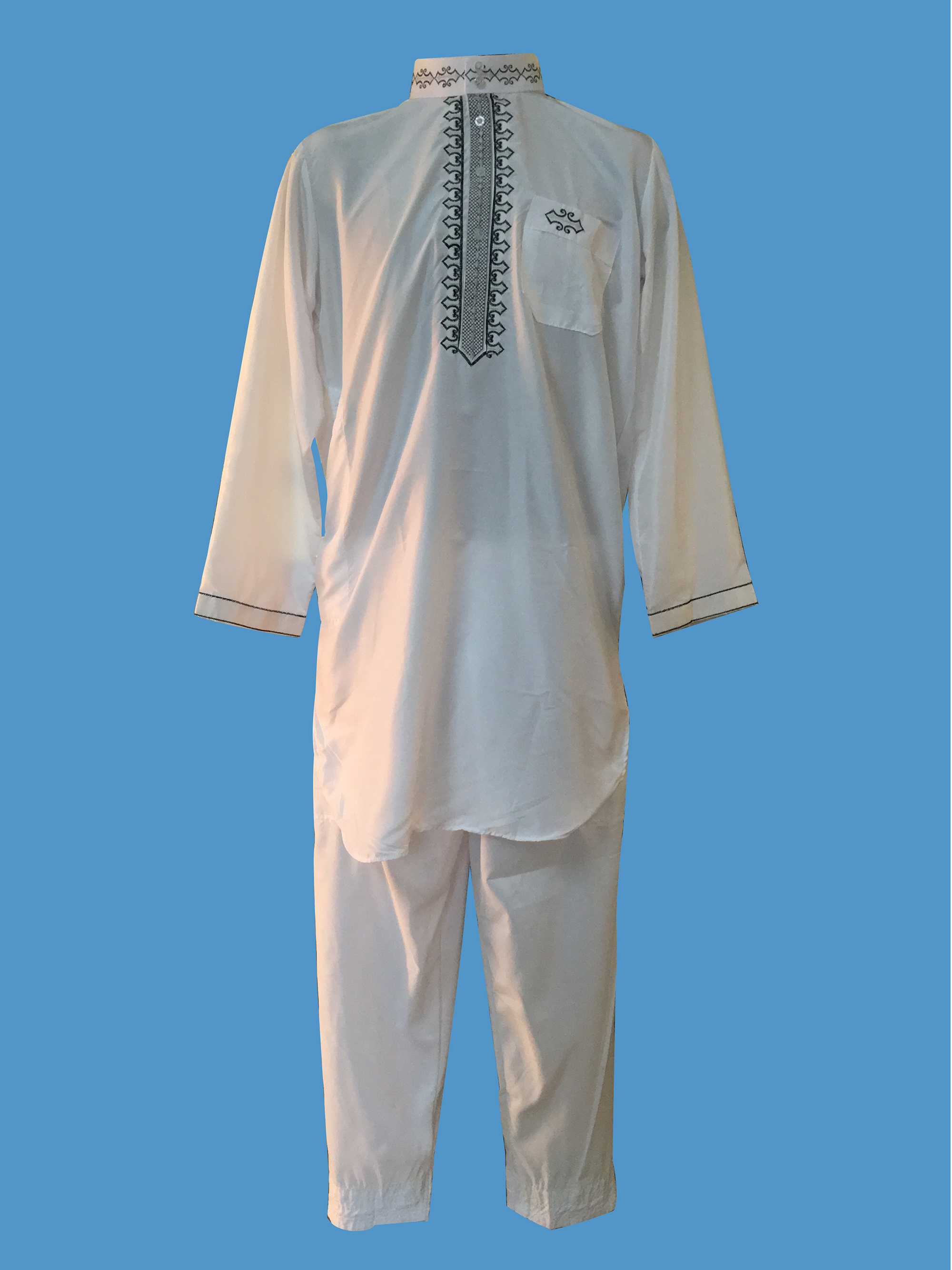 2020 Fashionable White Color  Jubba Thobe Embroidery Morocco Style Abaya Worship Suit For Muslim Men  To Pray In Ramadan