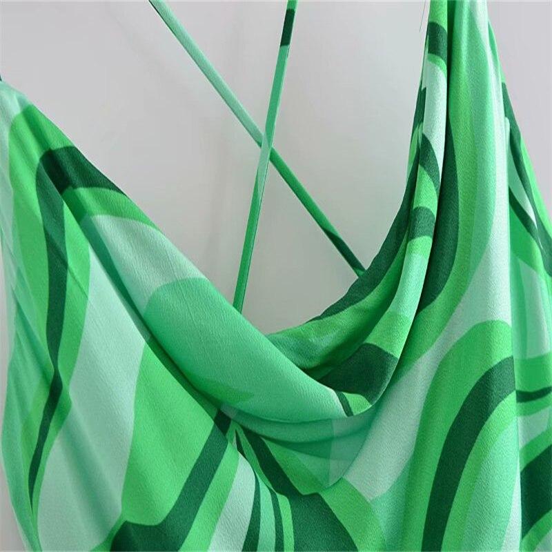 Za Summer Cross Spaghetti Straps Short Dress Women 2021 Green Slip Sexy Backless Party Dresses Draped Neckline Club Ladies Dress 4