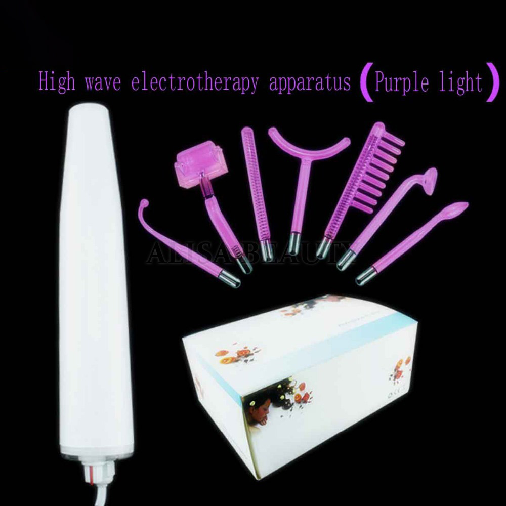 7pcs Purple light High Frequency Electrotherapy high wave electrotherapy apparatus to treat ACNE anti inflammatory Remove