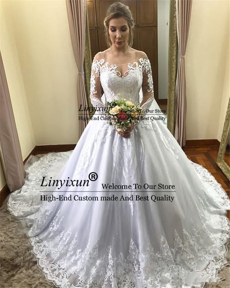 us $136.28 38% off|modest long sleeve ball gown wedding dresses 2020 arabic  off shoulder lace appliqued bridal gowns with court train wedding gowns on