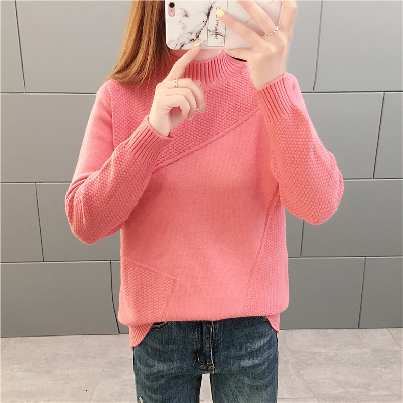 Autumn Winter Women Knitted Sweater Pullover New Solid Half Turtleneck Long-sleeved Sweater Bottoming Shirt Casual Female Tops