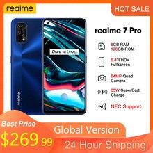 Realme 7 Pro 6.4 '''FHD + 8GB 128GB Smartphone 65W SuperDart şarj 10V/6.5A 64MP tam ekran Octa çekirdek 4500mAh mobil çağrı telefon 7