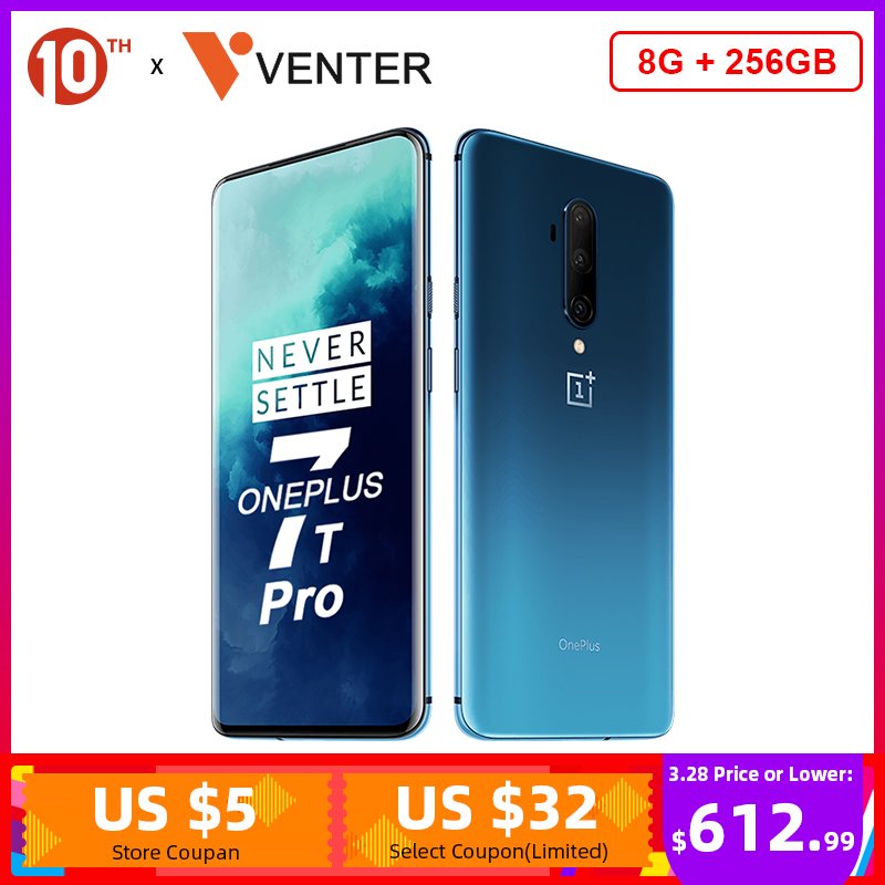 In Stock Global ROM OnePlus 7T Pro Snapdragon 855 Plus 8GB 256GB Smartphone Octa Core 6.67'' 48MP Triple Cam 30W NFC Android 10