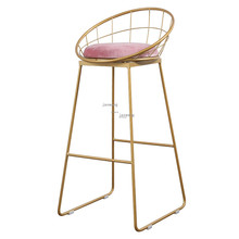 Chair Gold Bar-Stool Nordic Wrought-Iron-Bar Modern Pub-Accessories Simple New