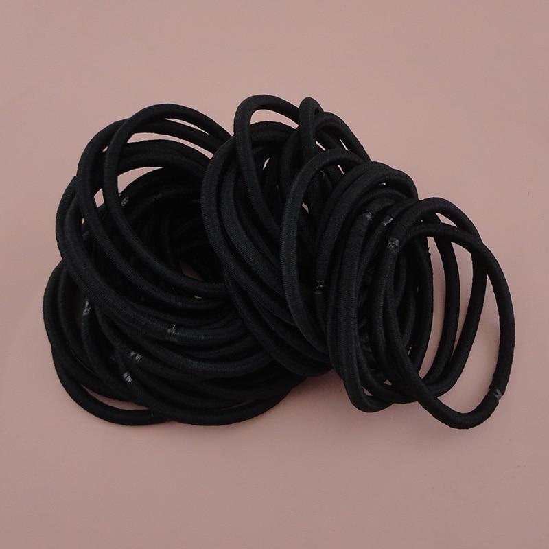 50 шт., 4 мм, черные эластичные резинки для волос в виде конского хвоста, резинки для волос с склеиванием для самостоятельного изготовления детских украшений для волос, резинки для волос
