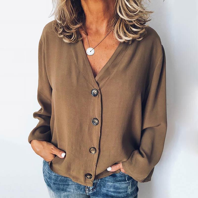 MISSJOY Women Shirt 2020 Spring New Cardigan V-Neck Button Plus Size Ladies Casual Long Sleeves Elegant Office Blouse Tops Black 7