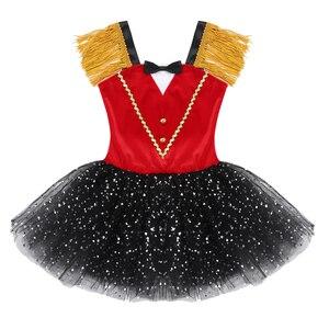 Image 3 - Ragazze dei capretti di Halloween Ringmaster Circo Costume Nappa Paillettes Maglia Vestito Dal Tutu di Balletto Ginnastica Body Usura di Prestazione di Ballo
