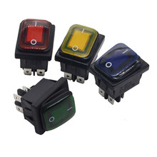 1 pièces 30A 250V ON OFF Heavy Duty 4 broches IP67 mer LED étanche Auto bateau Marine bascule interrupteur avec LED 12V 220V 30x22 DPST(China)