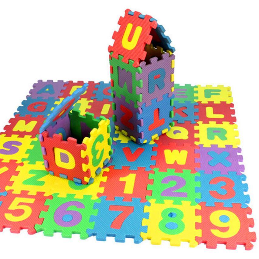 36 Pcs Children Mini EVA Foam Alphabet Letters Numbers Floor Soft Baby Mat 3D Puzzle Kids Educational Toys 5*5