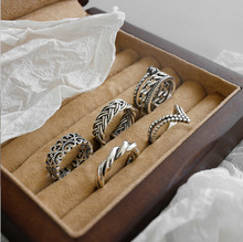 5 Styles Vintage 925 sterling silver twisted rings for women best friends gift, retro pattern silver 925 ring party fine jewelry